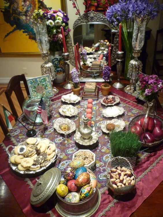 #Haft Seen table set for #Nowruz-the #PersianNewYear #celebrations. This is an ancient #Zoroastrian #spring festivity still celebrated by some 300 million people across the world.