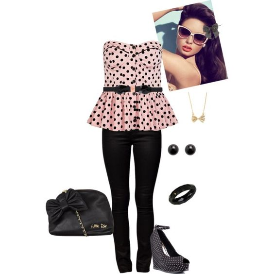 """""""bows and polka dots:)"""" by avap-27 on Polyvore"""