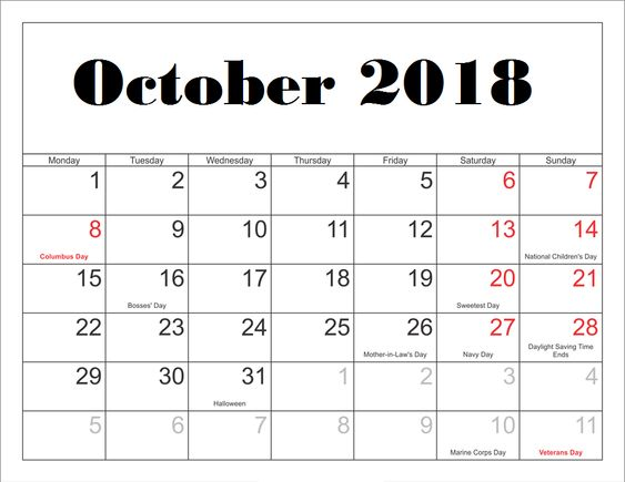 October 2018 Calendar With Holidays National