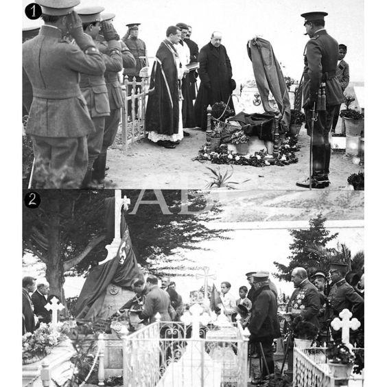 01/02/1920 MELILLA. HOMENAJE POSTUMO A LOS HEROES. 1, REZANDO UN RESPONSO ANTE LA TUMBA DEL HEROÍCO TENIENTE SR. GALVEZ ANTES DE IMPONER LA CRUZ LAUREADA DE SAN FERNANDO 2, EL COMANDANTE GENERAL SR. SILVESTRE (X) IMPONIENDO LA CRUZ LAUREADA DE SAN FERNANDO EN LA TUMBA DEL HEROÍCO TENIENTE SR. MORALES -FOTOS: LAZARO: Descarga y compra fotografías históricas en | abcfoto.abc.es