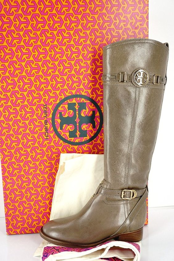 Tory Burch Calista Tall Leather riding boots size 5 Asphalt Gray ...