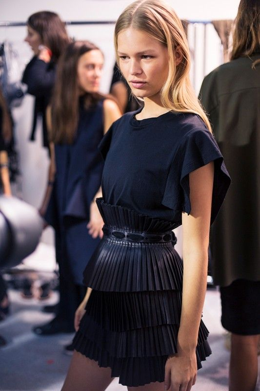 Pleated leather belt backstage at Isabel Marant SS15 PFW. More images here: http://www.isabelmarantsneaker.com Plus