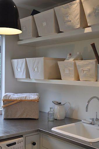 organize in linen baskets