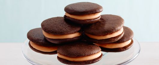 Orange crème whoopie pies -- Made with Duncan Hines Frosting Creations
