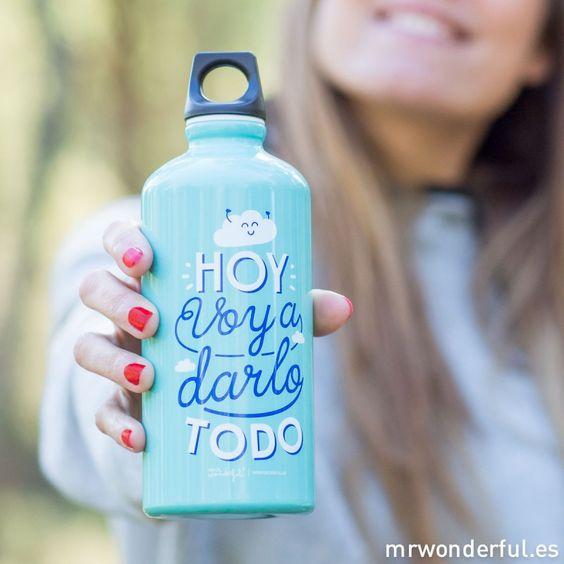 """Botella de aluminio """"Hoy voy a darlo todo"""" #aluminium #bottle #sport #mrwonderfulshop"""