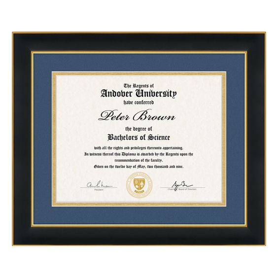 custom austin square diploma frame w double beveled gallery matting features a matte black finish with gold leaf inner trim and holds an x diploma