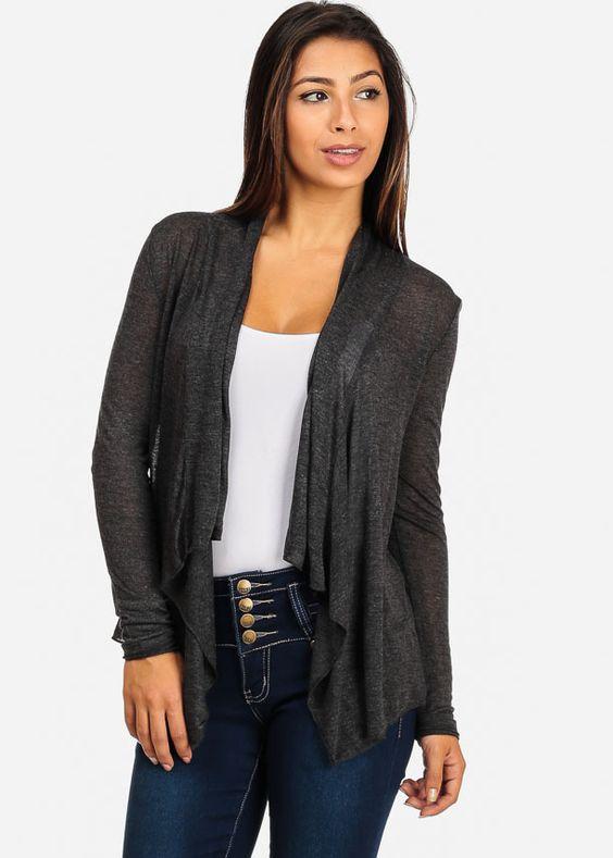 Grey Lightweight Open-Front Long Sleeve Cardigan