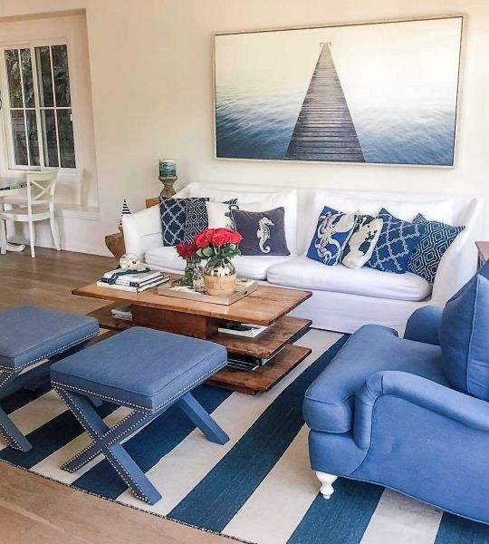 Navy Blue White Striped Area Rugs Shop The Look Of These Interior Designs Beach House Living Room Nautical Decor Living Room Nautical Living Room