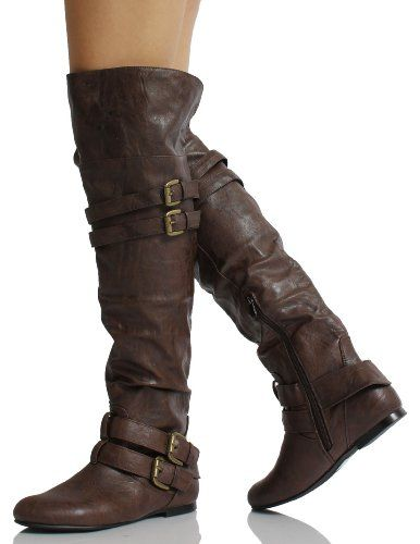 Amazon.com: Brown Leatherette Double Buckle Cuff Over the Knee