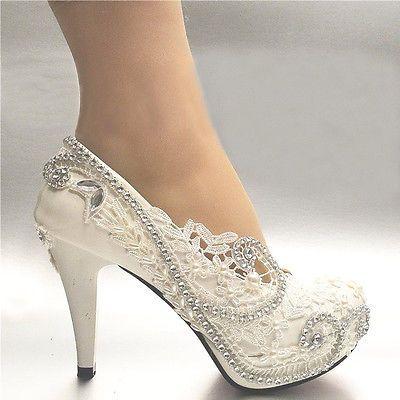 3'' White Light Ivory Women Lace Bead Crystal Wedding Shoes Bridal Heel Pumps