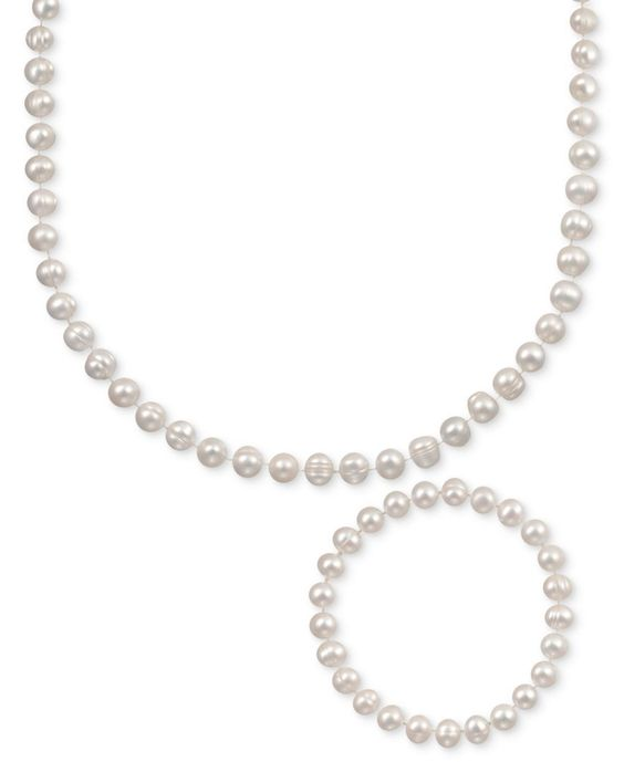 Pearl Jewelry Set, Sterling Silver White Cultured Freshwater Pearl Necklace and Stretch Bracelet