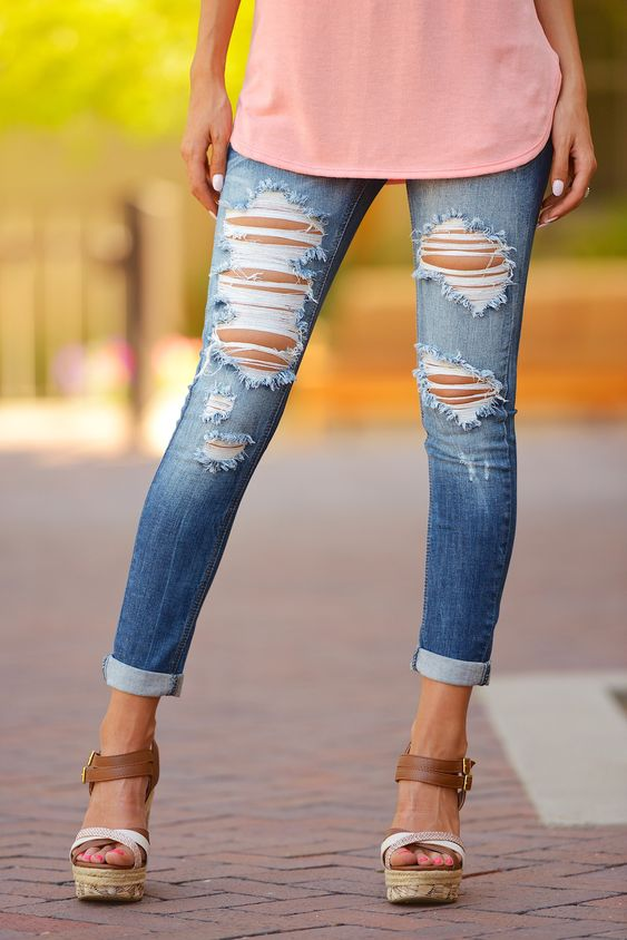 Definitely need some distressed skinny jeans! MACHINE Distressed Crop Skinny Jeans - Cara Wash from Closet Candy Boutique: