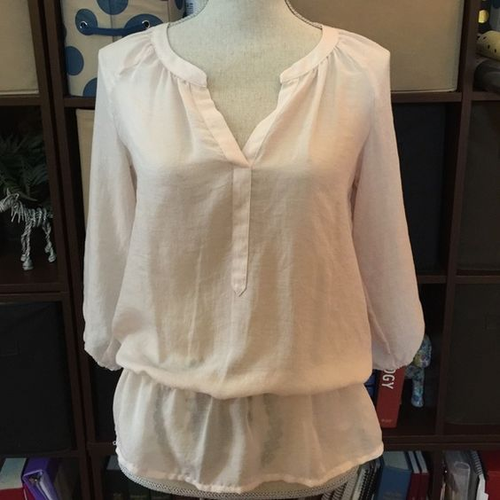 Pale Pink Loft Blouse Super cute and cool perfect for summer thin loft blouse! LOFT Tops Blouses