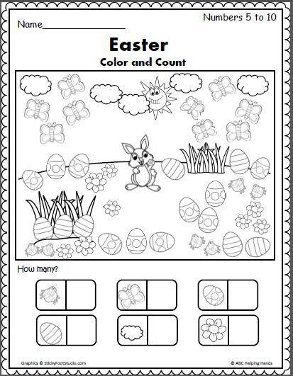 Easter Color And Count Preschool Worksheet