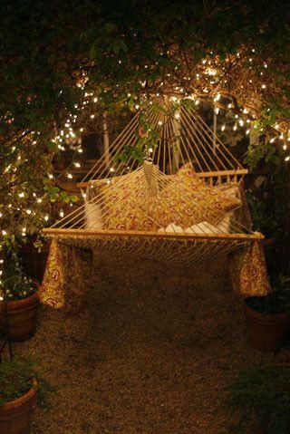 backyard, fairy lights, hammock,
