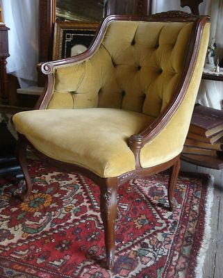 (color and style) Antique 1920's French Carved Bows Ladies Slipper Tufted Chair NO RESERVE!!   eBay