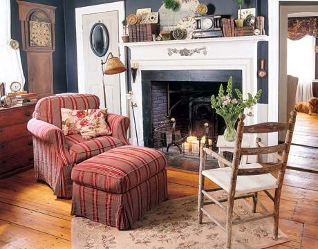 """Love this -- Sherwin Williams """"Inkwell"""" on the walls with cozy fireplace."""