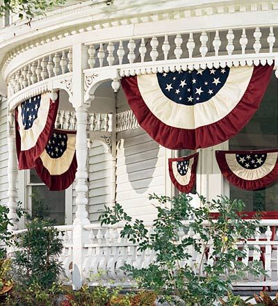 Half-Round Cotton Duck Patriotic Vintage Bunting with Embroidery