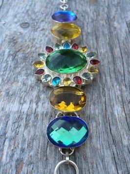 Green Amethyst Rainbow Topaz Yellow Citrine Statement  Sterling Silver Bracelet by BellaJwls on Etsy