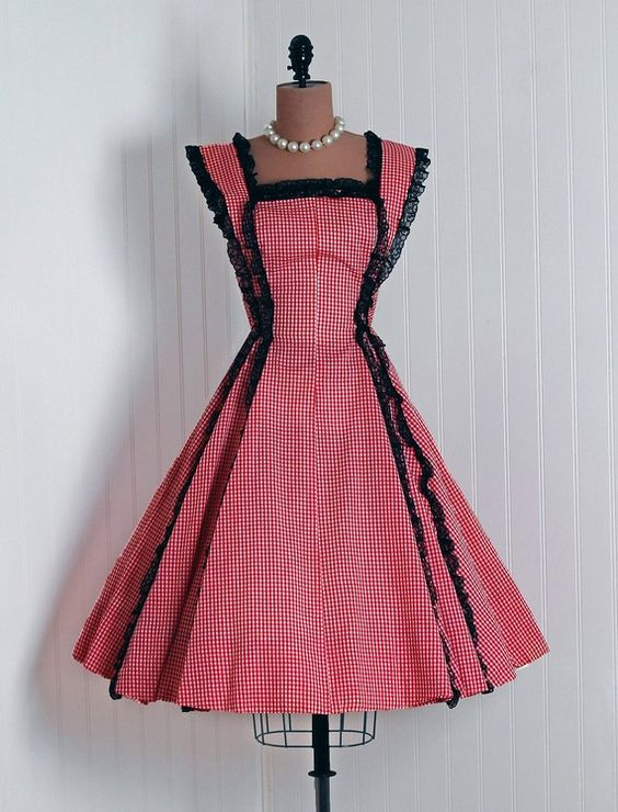 1950's Vintage Ruby-Red Gingham Print-Cotton & Black-Lace Couture Sleeveless Nipped-Waist Rockabilly Cupcake Full Circle-Skirt Sun Dress