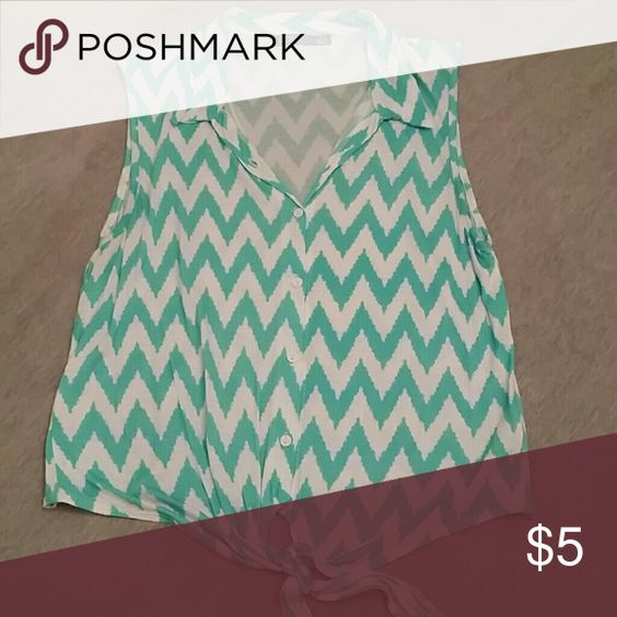 Tie-Front Chevron Top Teal & White chevron top, buttons up and ties in the front. Super cute, soft, and comfy! Tops