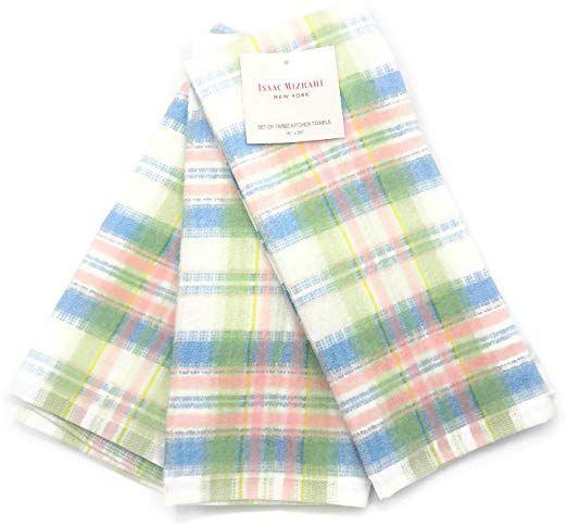 Amazon Com Isaac Mizrahi New York Spring Pastel Plaid 3 Piece Kitchen Towel Set Home Kitchen Spring Pastels Kitchen Towels Kitchen Towel Set