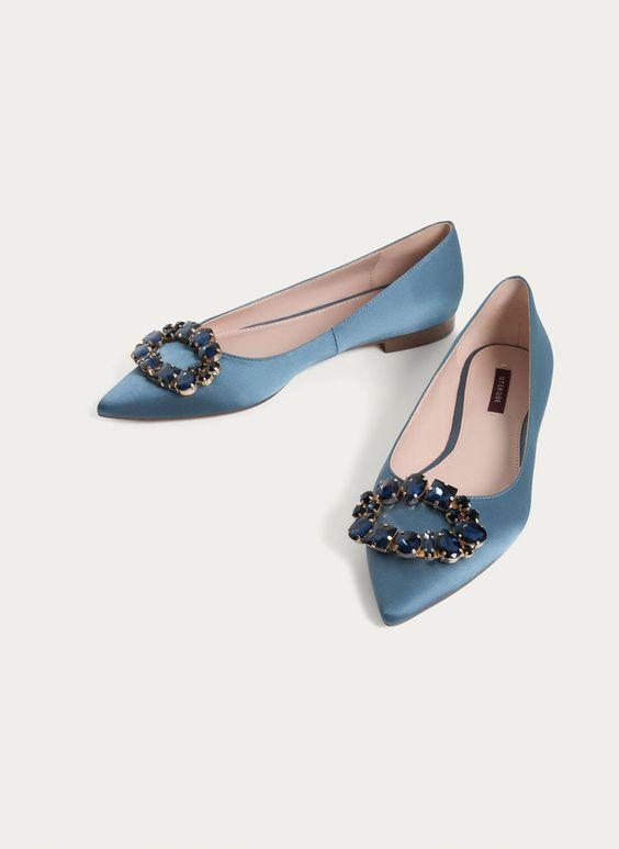 Embellished blue ballerinas - View all - Footwear - Uterqüe United Kingdom