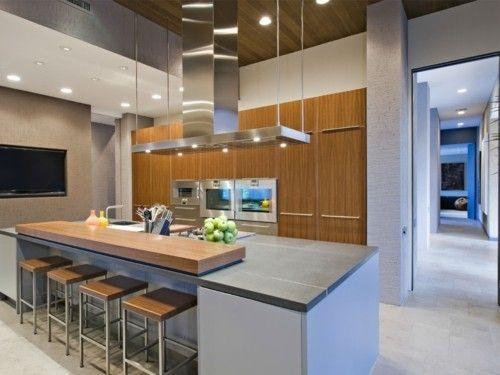 Küche Mit Kochinsel Modernes Design Schöne Farbe Barhocker | Küche