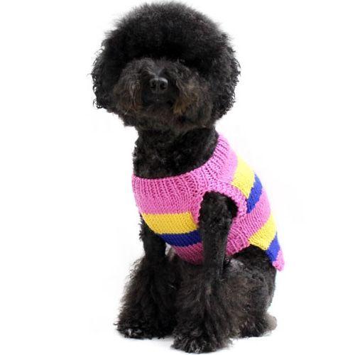 Stripe Sleeveless Dog Knit Pink Dognpet Pet Apparel And