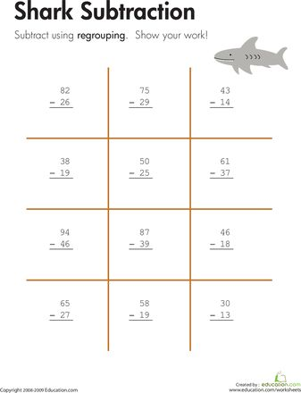 math worksheet : shark! two digit subtraction with regrouping  sharks worksheets  : 3rd Grade Math Subtraction Worksheets