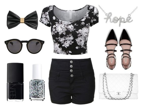 """""""Untitled #4"""" by blafele on Polyvore featuring LE3NO, Glamorous, Zara, Chanel, Illesteva, H&M, NARS Cosmetics and Essie"""