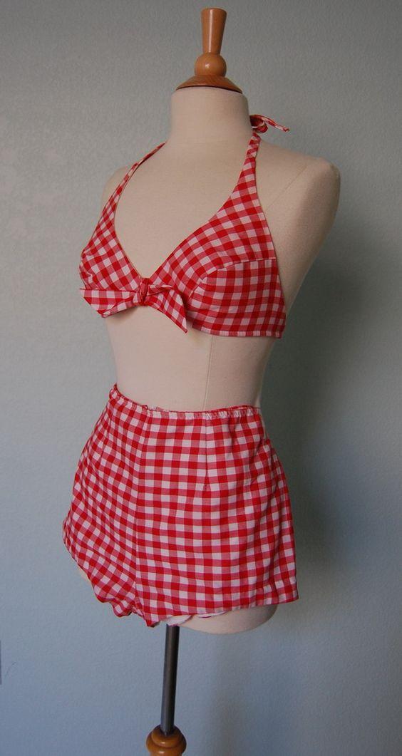 Vintage 60's gingham halter swimsuit