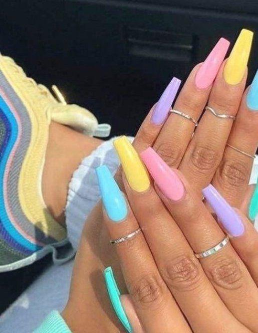 Rainbow Acrylic Nails Coffin Rainbow Acrylic Nails Rainbow Acrylic Nails Rainbow Acry In 2020 Cute Summer Nail Designs Summer Acrylic Nails Acrylic Nails Coffin