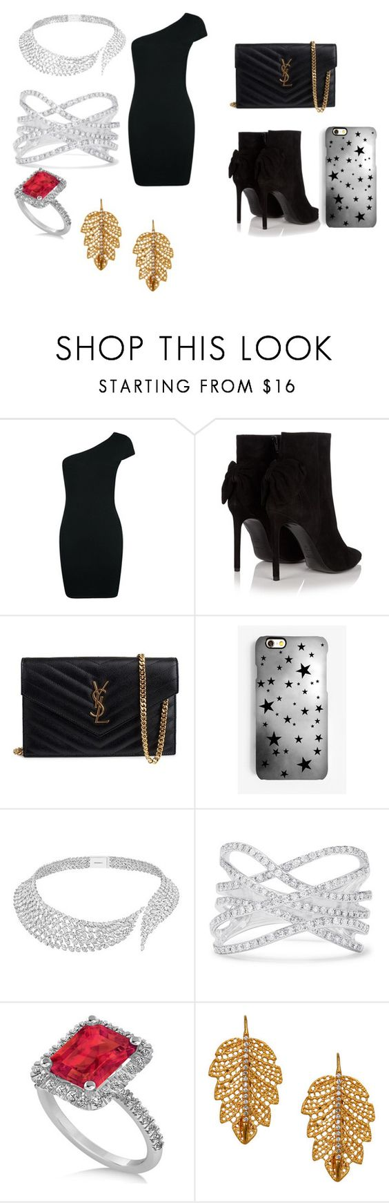 """date night"" by nicole-296 on Polyvore featuring Boohoo, Yves Saint Laurent, Rianna Phillips, Messika, Effy Jewelry, Allurez and Marika"