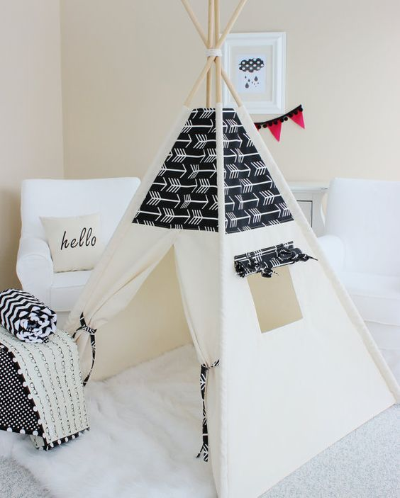BLACK ARROWS and Natural Canvas, Teepee, Play Tent, Play House, Nursery, Teepee Tent, Kids Teepee, Indoor