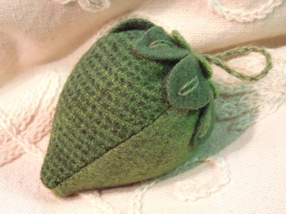 Pin Cushion - Strawberry -  Green Felted Wools - Not Quite Ripe