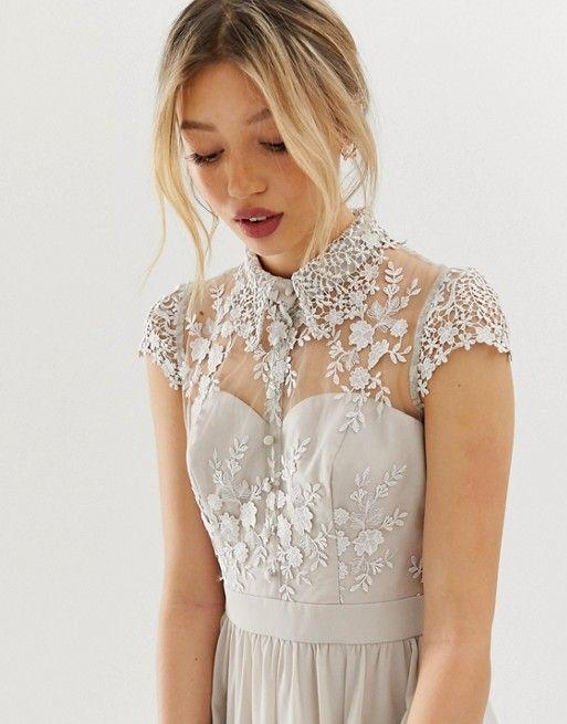 Chi Chi London Petite Mini Prom Dress With Lace Collar In Gray Asos Mini Prom Dresses Prom Dresses Lace Chi Chi London Petite