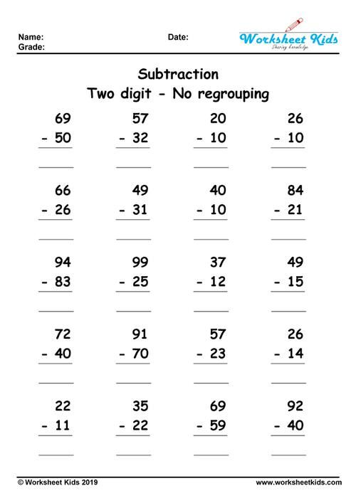 Two Digit No Borrow Math Subtraction First Grade Math Worksheets Subtraction Worksheets