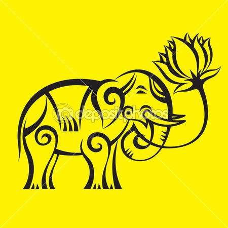 Elephant with a Lotus Logo - Vector Sign