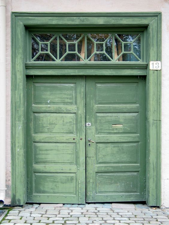 Faded Green Door in Oslo, Norway