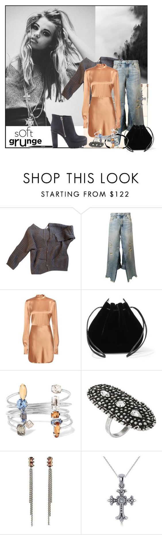 """""""The Grunge effect..."""" by sue-mes ❤ liked on Polyvore featuring Maje, R13, Acne Studios, Vanessa Seward, DANNIJO, Allurez and Stila"""