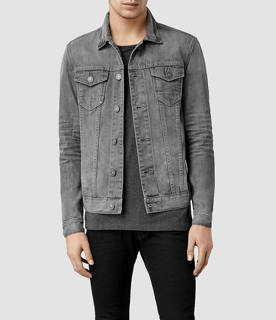Grey Denim Jacket Men - Coat Nj