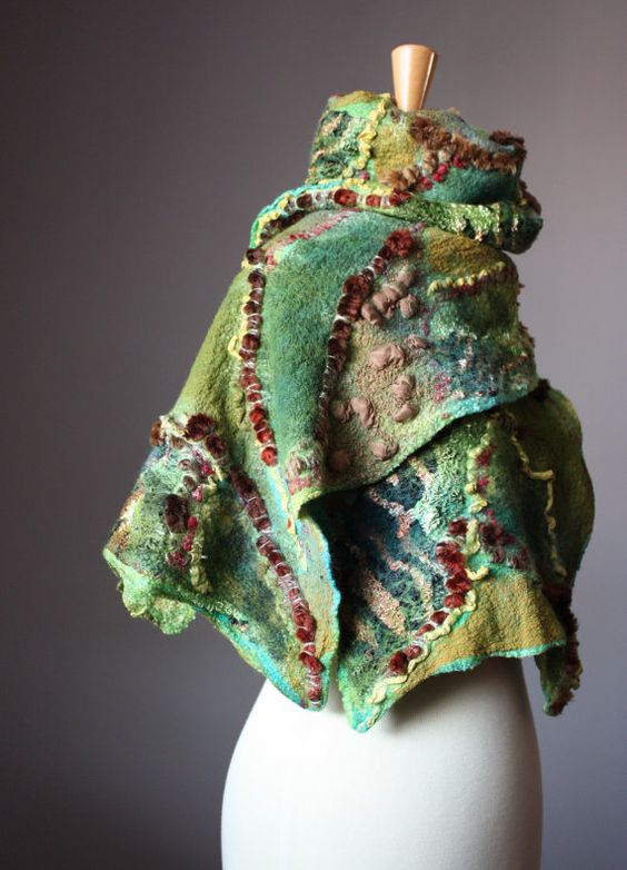 Fashion felted Nuno scarf wool silk
