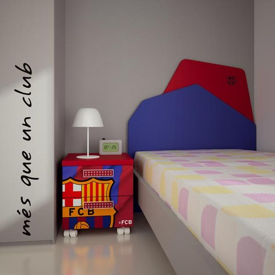 FC Barcelona bedroom  by Muebles Hermida. FC Barcelona LED Football soccer ball would be great for a sports