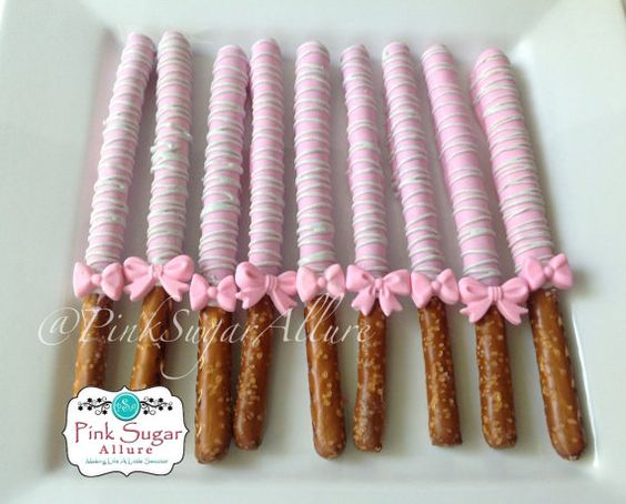 1 Dozen Chocolate Covered Pretzels Rods - Pink and Gray with Bows on Etsy, $20.78 AUD
