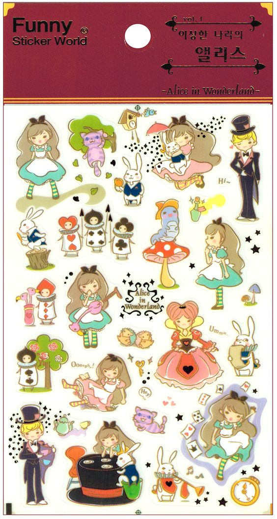 Funny Sticker World Alice in Wonderland Fairy Tale Sticker Sheet