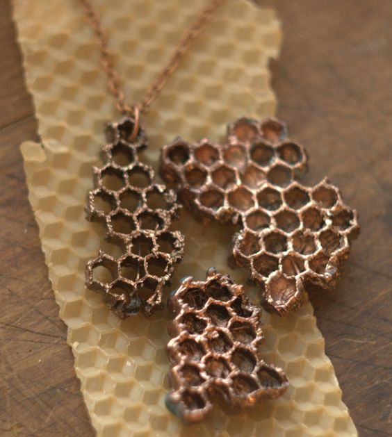 Real and natural honeycomb covered with copper (electroformed with copper), can be used as a pendant or as part of necklace. Eco friendly object in