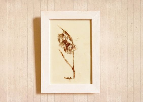 botanical illustration art framed - original - Angela's Flower - by Caid
