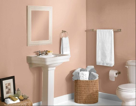 Sherwin williams paint smoky salmon new house ideas for Salmon bathroom ideas