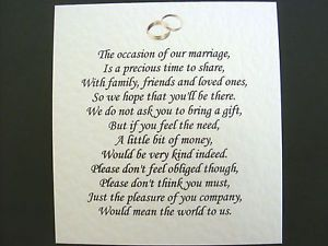 Wedding Gift Poem Pots And Pans : 20 Wedding poems asking for money gifts not presents Ref No 13 eBay ...